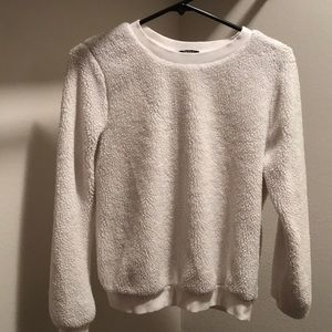White fluffy pullover sweater